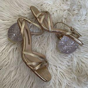 ZARA Gold metallic crystal heel square toe sandal